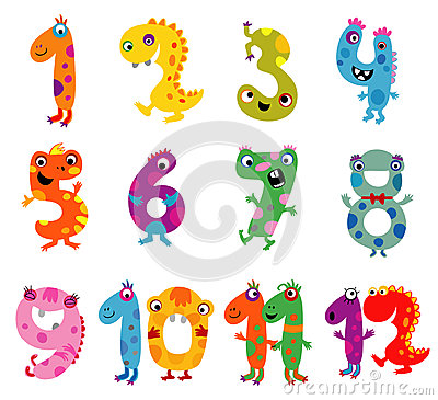 Cartoon Monsters Numbers Stock Vector Image 52502570