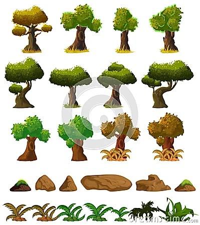cartoon nature landscape elements