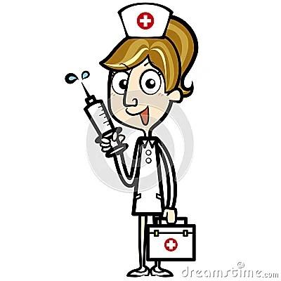 cartoon nurse with aid kit