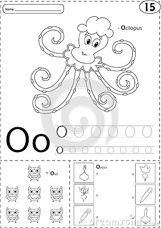 Cartoon Octopus, Owl And Onion. Alphabet Tracing Worksheet