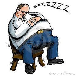 sleeping cartoon overweight chair isolated