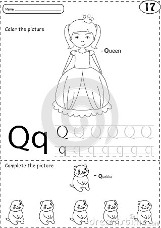 Cartoon Queen And Quokka. Alphabet Tracing Worksheet