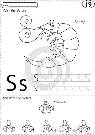 Cartoon Shrimp And Submarine. Alphabet Tracing Worksheet