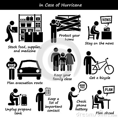 In Case Of Hurricane Typhoon Cyclone Emergency Plan Icons