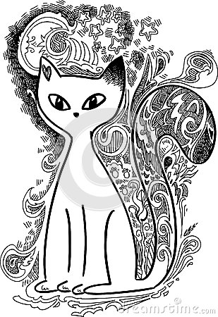 Cat In The Moonlight Sketchy Doodles Stock Photo Image