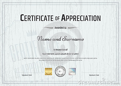 Certificate Of Appreciation Template With Grey Wooden