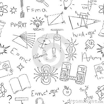 Chalk Drawing Effect. Physics Formulas, Lab Stock Vector
