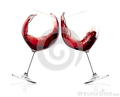 Cheers A Toast With Red Wine Splash Stock Photo Image