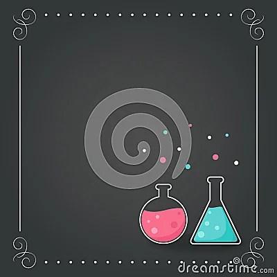 Cute Algae Wallpaper Chemistry Bottles On Chalkboard Background School