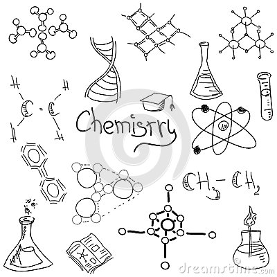 Chemistry Symbols With Formula On White. Vector Stock