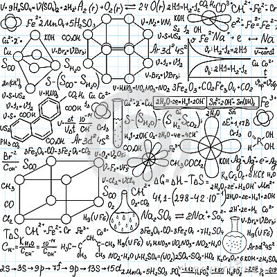 Chemistry Vector Seamless Pattern With Plots, Formulas And