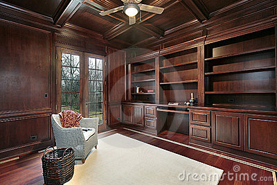 cherry wood kitchen table black and white striped rug paneling library royalty free stock image ...