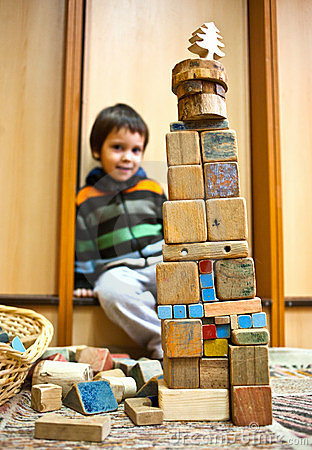Child With Blocks Construction Royalty Free Stock Photography - Image: 23331257