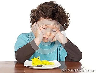 Child eating boring