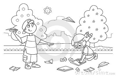 Children Playing With Paper Airplanes Royalty Free Stock