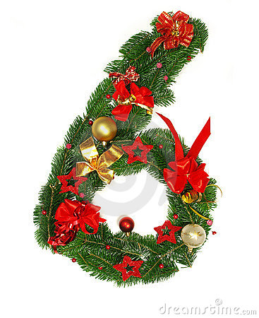 Christmas Alphabet Number 6 Royalty Free Stock Photography