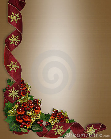 Christmas Border Elegant Ribbons Royalty Free Stock Photos