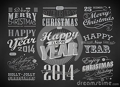 Christmas And Happy New Year Typography Royalty Free Stock