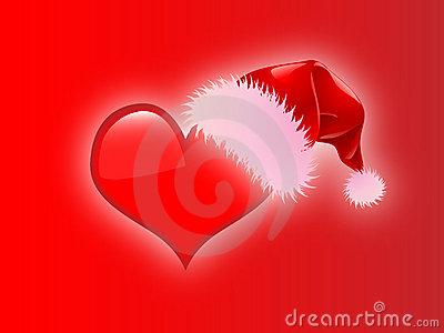 Christmas Heart With Santa Hat Red Background Royalty Free