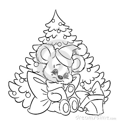 Christmas Little Teddy-bear Tree Gift Coloring Pa Royalty
