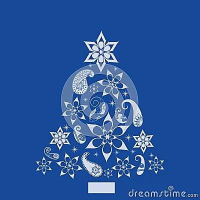Christmas Paisley And Shapes Pine Tree Royalty Free Stock
