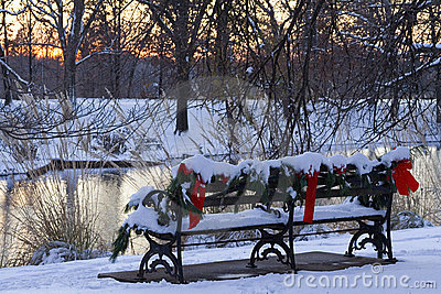 Christmas Park Bench Royalty Free Stock Photo Image 6764725