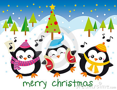 christmas penguins stock