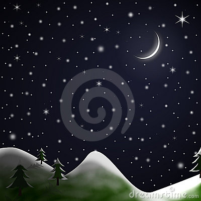 Christmas Scene Starry Snowy Night Stock Photography