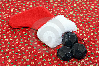 Christmas Stocking With Coal Stock Images Image 11972544