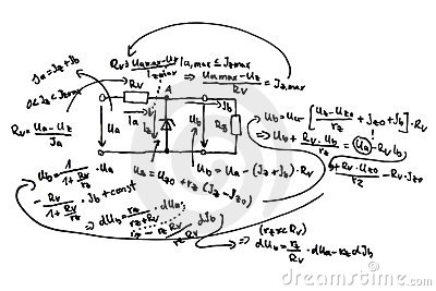 Circuit Diagram And Equations Royalty Free Stock