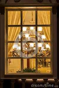 A Classic Lighting In A Lighting Shop Window At Night,home ...