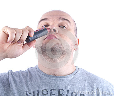 clean hair in the nose stock photo image