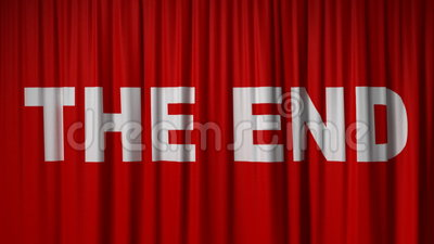 Closing Red Curtain With Title The End Stock Footage