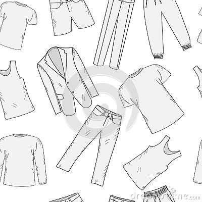 Clothing Set Seamless Pattern Sketch. Men's Clothes, Hand