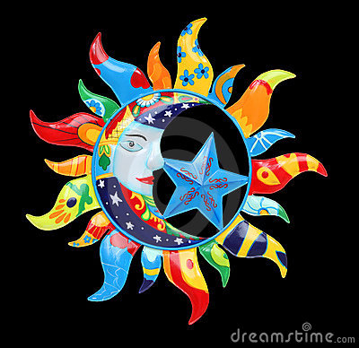 Good Morning Animation Wallpaper Colorful Sun And Moon Royalty Free Stock Photography
