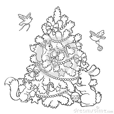 Coloring Book. Cartoon Animals Decorate The Christmas Tree