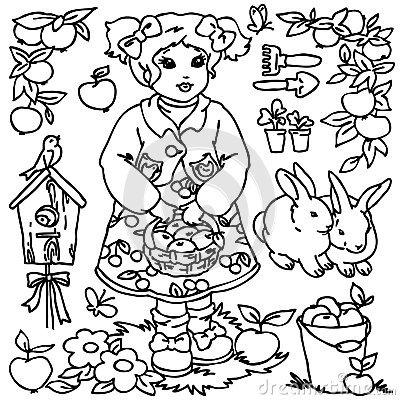 Coloring Book, Cartoon Farm Girl And Animals Stock