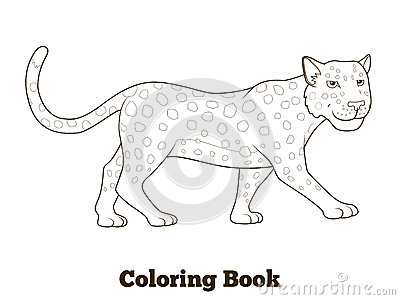 Coloring Book Leopard African Savannah Animal Stock Vector