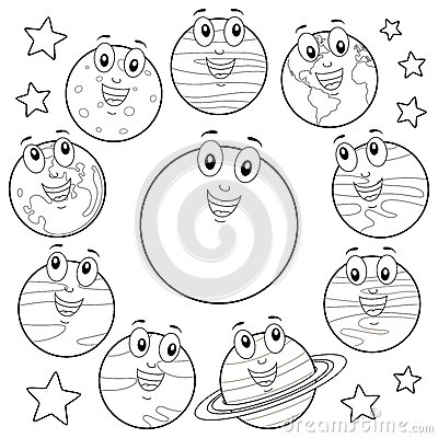 Coloring Cartoon Planets With Sun & Moon Stock Vector