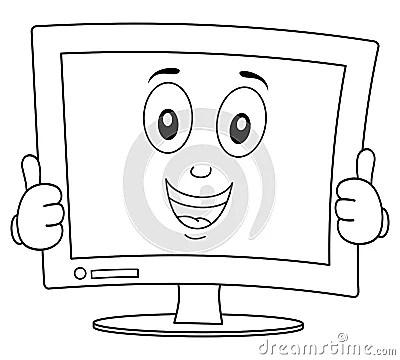 Coloring Happy Desktop Screen Thumbs Up Stock Vector