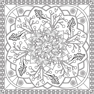 Coloring Page Book For Adults Square Format Floral Mandala