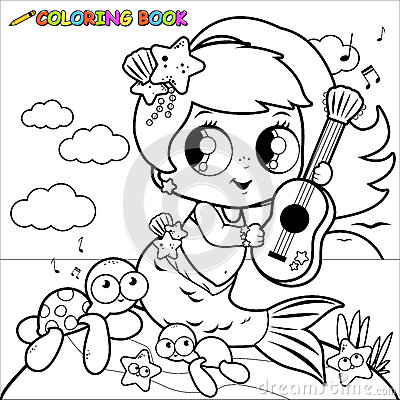 Coloring Page Mermaid By The Sea Playing Music With Her