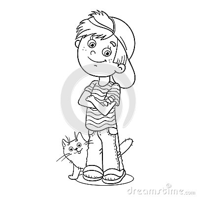 Coloring Page Outline Of A Boy With His Cat Stock Vector