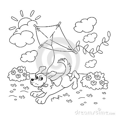 Coloring Page Outline Of Cartoon Dog With A Kite. Coloring