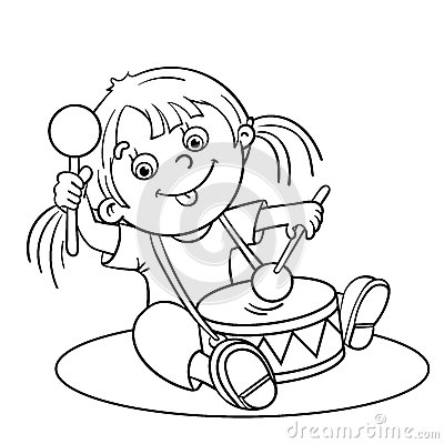 Coloring Page Outline Of A Cartoon Girl Playing The Drum