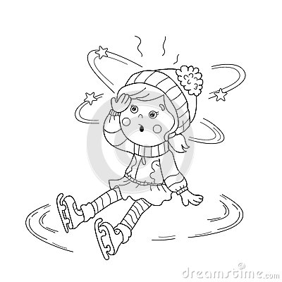 Coloring Page Outline Of Cartoon Girl Skating. Winter