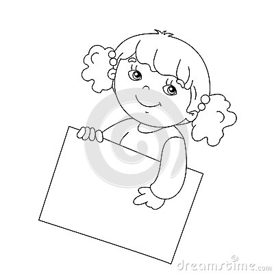 Coloring Page Outline Of Cute Girl Holding A Sign Stock