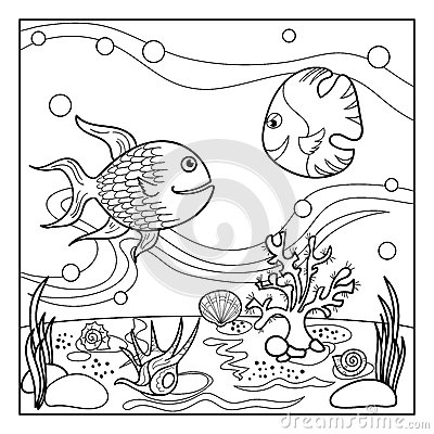 Coloring Page Outline Of Underwater World For Kids. Stock
