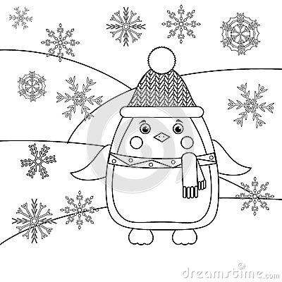 Coloring Page With Penguin And Snowflakes. Educational