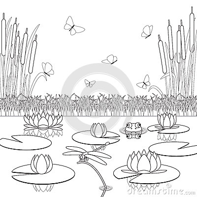 Coloring Page With Pond Inhabitants And Plants. Stock